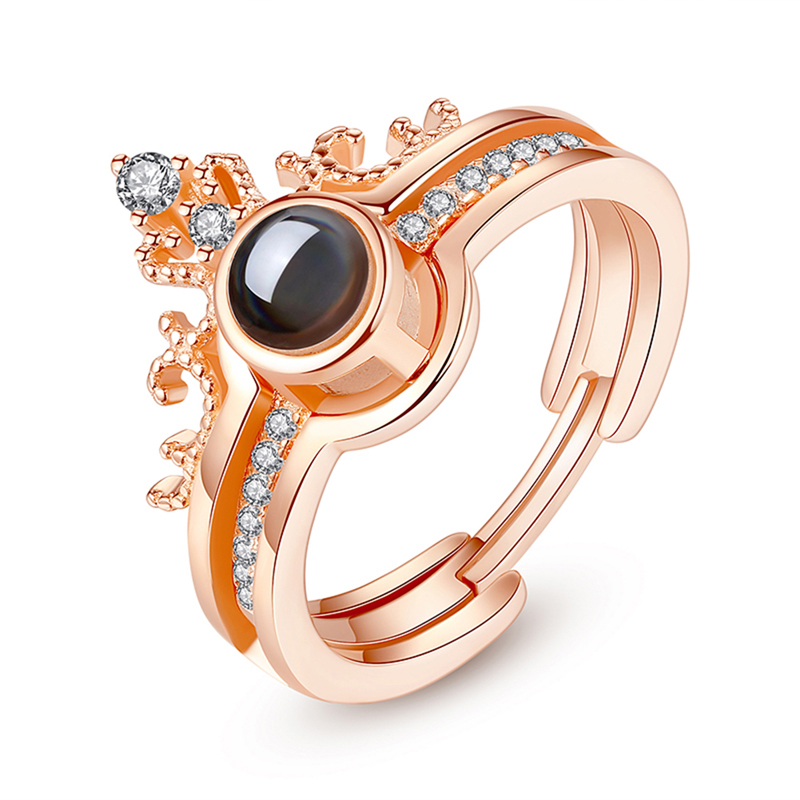 Lanqiao 2019 New Arrival Light Projection Lady Rhinestone Crown Finger Ring Jewelry Rose Gold Color fine silver Wedding gifts