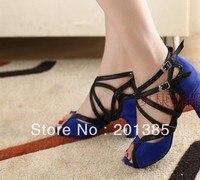 Sexy Ladies Blue Velvet LATIN Shoes Ballroom Dance Shoes Salsa Tango Bachata Mambo Shoes