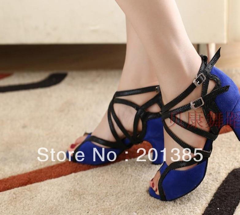 Sexy Ladies Blue Suede LATIN Shoes Ballroom Dance Shoes Salsa Tango Bachata Mambo Shoes Heels 2,2.5,3,3.5,4 inch