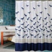 Polyester Terylene Blue Birds Shower Curtain Bathroom Curtain Thickening Waterproof Coating