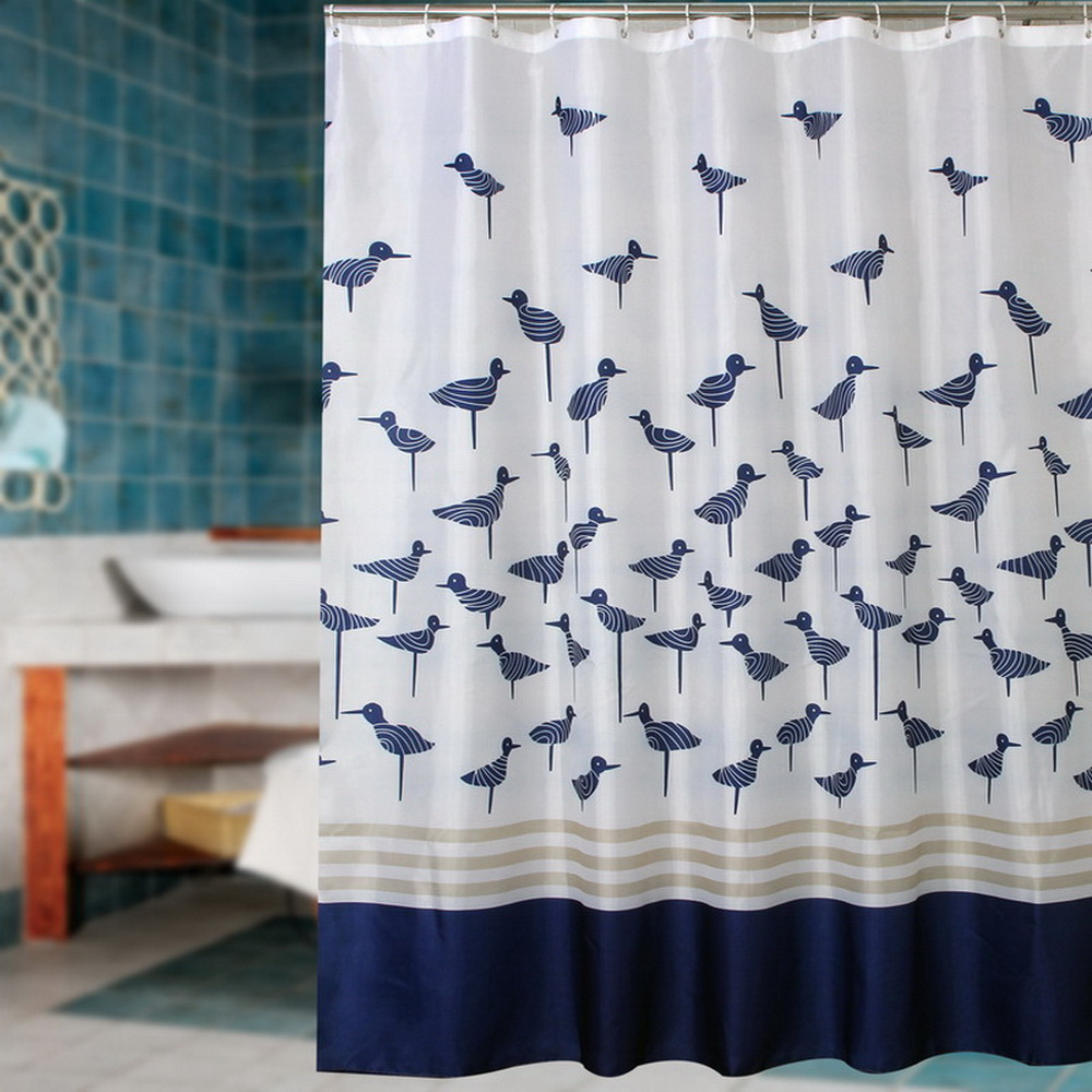 Blue bathroom curtains - Fabric Polyester Blue Lucky Birds Thicken Waterproof Shower Curtains Bathroom Curtains Waterproof Coating Curtains
