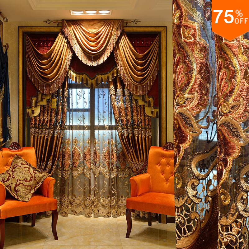 Most Luxury Coffee Royal Velvet Embroidery Curtain Brown Living Room Drapes For Door Curtains DuBai Drapery