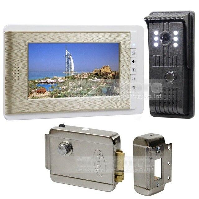 DIYSECUR HD Camera Night Vision 7 inch TFT Color LCD Display Video Door Phone Visual Intercom Doorbell + Electric Lock
