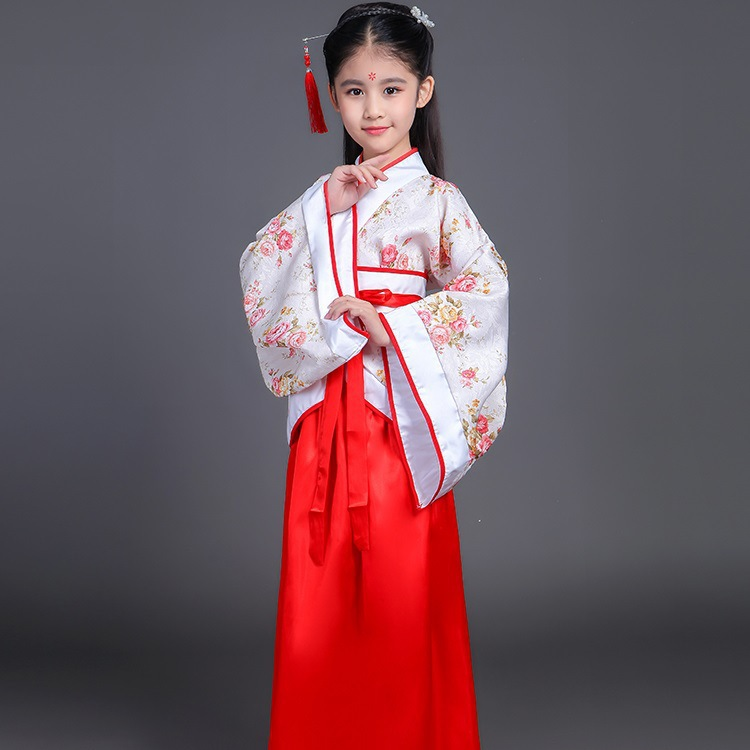 Chinese Traditional Dance Costume Girl Singing Opera Children Ancient Fairy Han And Tang Dynasty Youth Costume Children Children image