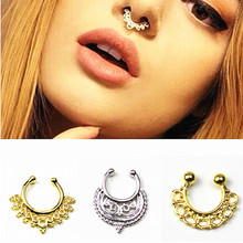 Fashion new clicker fake nose ring Ear clip Body Jewelry crystal For Women earrings T shape Long Earring Stud Accessories e03