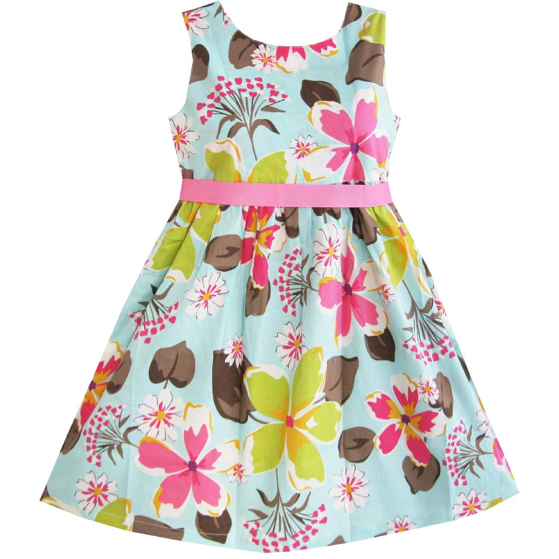Girls Dress Blue Flower Children Clothing Size Cotton 2019 Summer Princess  Wedding Party Dresses Kids Clothes 388ab3635796