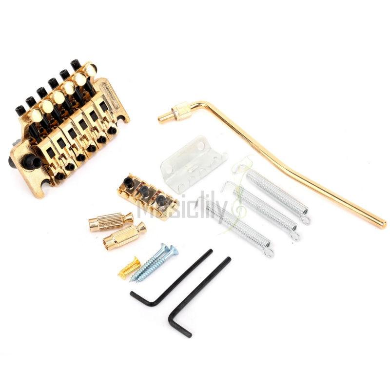 Dark Gold Zinc Alloy 6 String Electric Guitar Tremolo Bridge System Set yibuy 5 x zinc alloy 3 string electric cigar box guitar bridge tailpiece gold