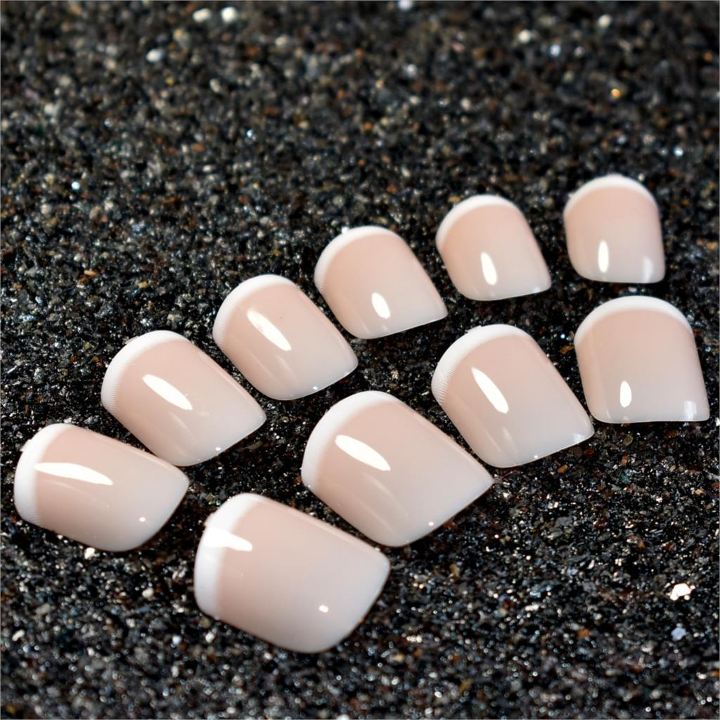 Short Acrylic French Nails Simply Shiny Beige White False