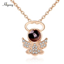 HI YONG 2019 New Arrive Rose Gold Projection 100 Languages I Love You Charm Heart Pendant Necklace For Women Choker Lover Gift