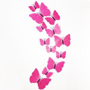 12pcs PVC Wall Stickers for Kids Rooms Magnet Butterflies Wall Decal DIY Fridge Home Decor Art Poster Wallpaper Wall Sticker in Wall Stickers from Home Garden
