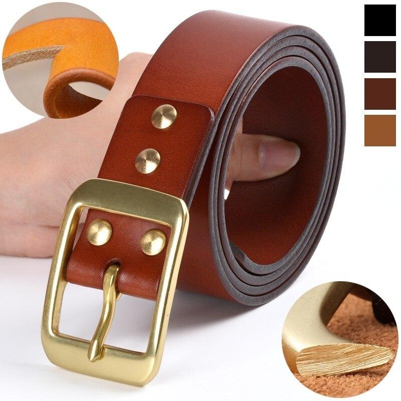 Genuine Leather   Belts   For Men High Quality Top layer of Cowhide Luxury Waist   Belt   Designer Black Men's   Belt   Copper Needle Buckle