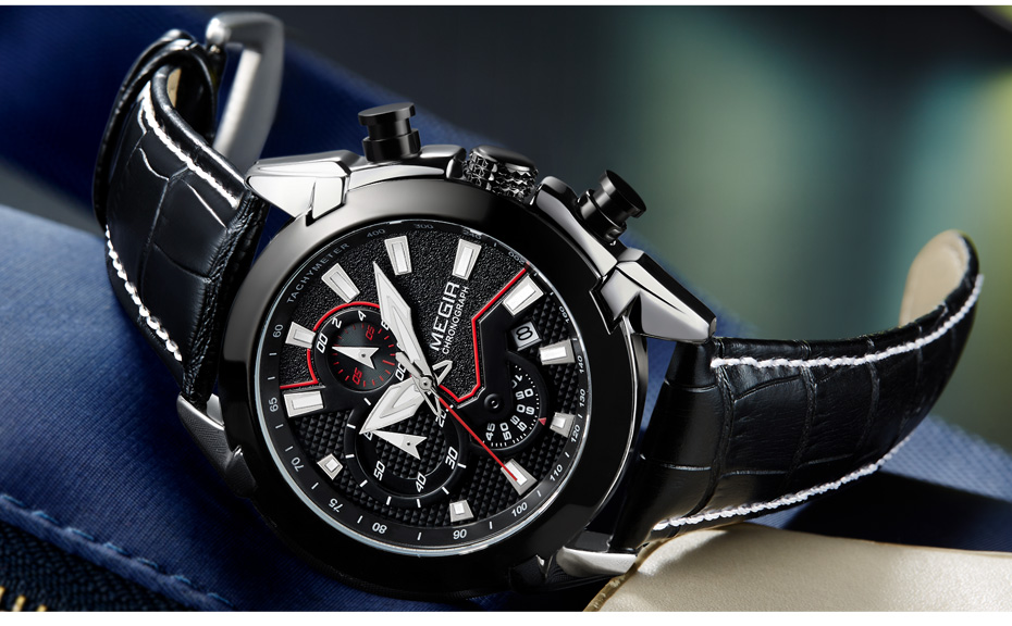Topdudes.com - Creative Quartz Chronograph Leather Army Military Sports Watch