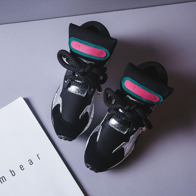 Chaussures femme baskets femmes 2019 plate-forme de créateur de mode en cuir casual chaussures femmes 6 cm femmes baskets chaussures 2019 mode