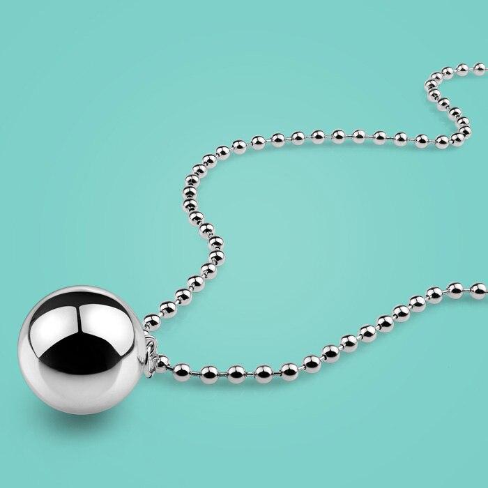 Mulher 925 prata esterlina colar, estilo conciso bola pingente, meninas contas corrente, moda jóias de prata, um presente de aniversário