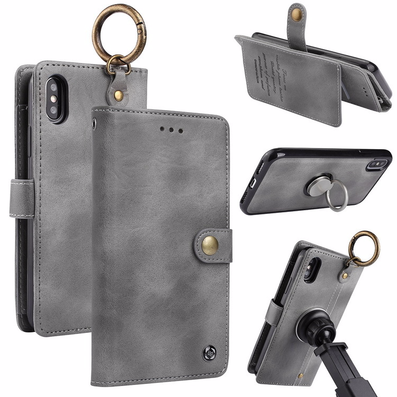 Magnetic Car Holder Case For iPhone X 6 6S 8 7 Plus Luxury Leather Back Cover for Samsung Galaxy S8 S8plus Flip Wallet phone bag