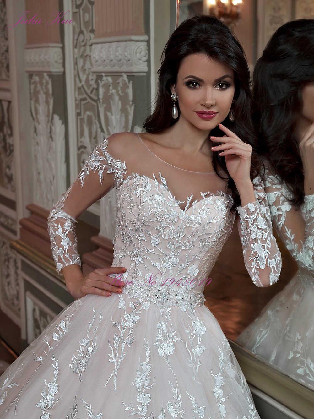 ג 'וליה Kui בציר נסיכת מסולסל צוואר כדור שמלת חתונת שמלות עם קפלת רכבת שליחת תחתונית מתנה