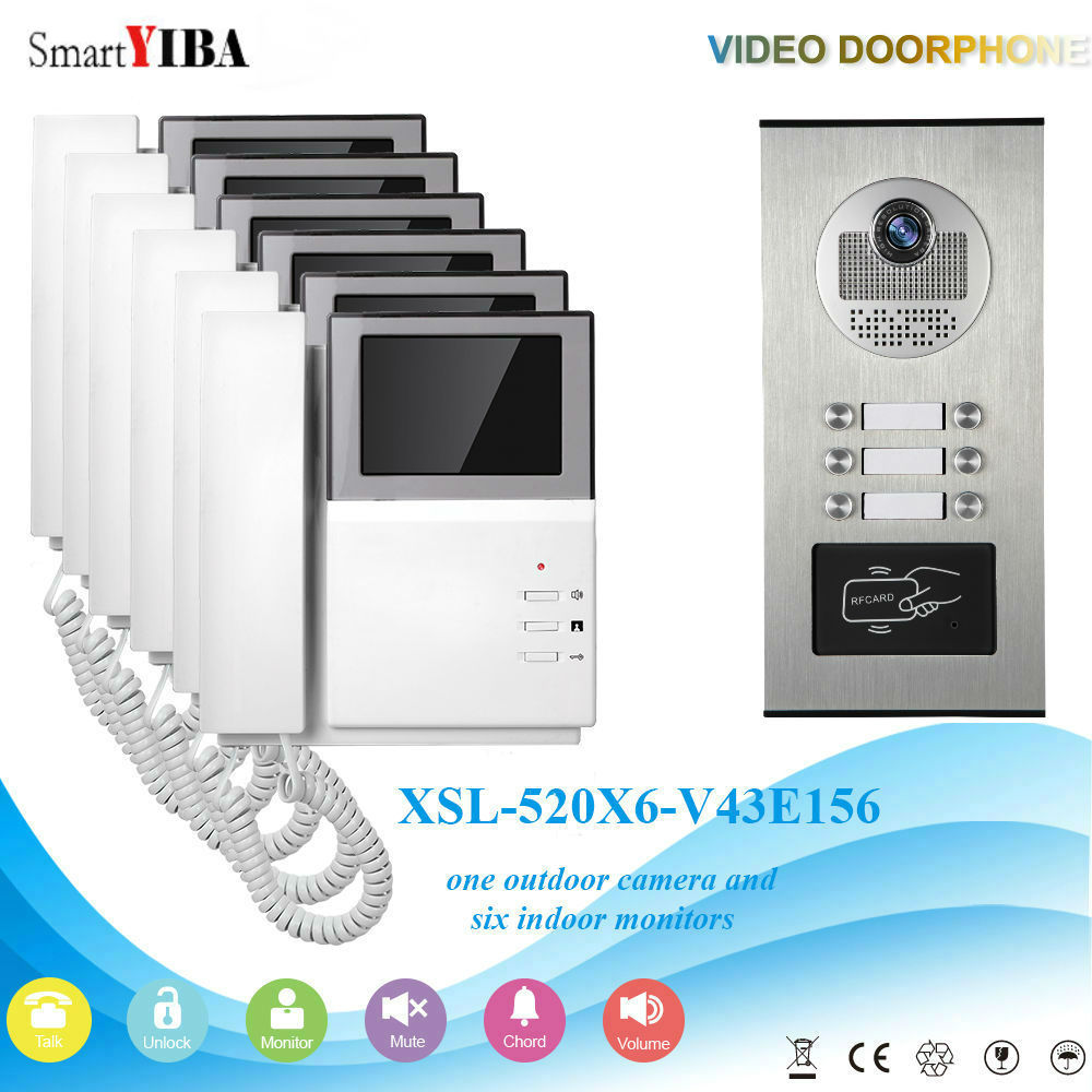 SmartYIBA 4.3inch 5 Units Household Video Door Phone Doorbell Intercom System One To Six Video Doorphone 2 RFID For Apartment ...