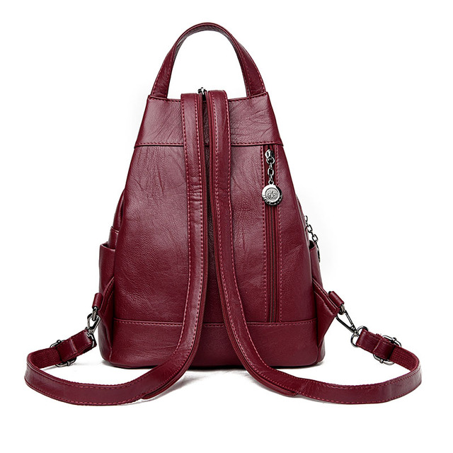 2019 Women Anti-theft Leather Backpacks Female  Ladies Backpacks For School Retro Sac a Dos Femme Female School Shoulder Bags 1