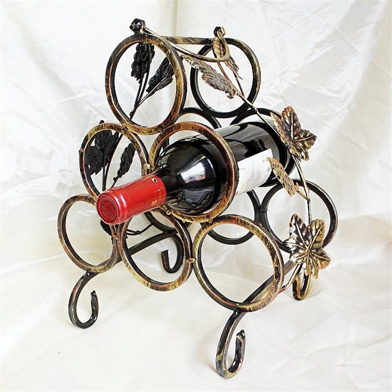 Wine rackEuropean Iron Six-hole Cube Bottle wine rack 6 Bottles whisky Wine Holder Party Holiday Elegant Accessory Red Wine box