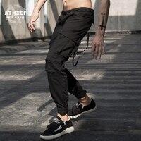 ATHIEF 2016 Мужчины Проблемные Лодыжки Длина Промывают Брюки-Карго 100% Хлопок Случайные Свободные Плюс Размер Мульти Карманные Swag Jogger Брюки