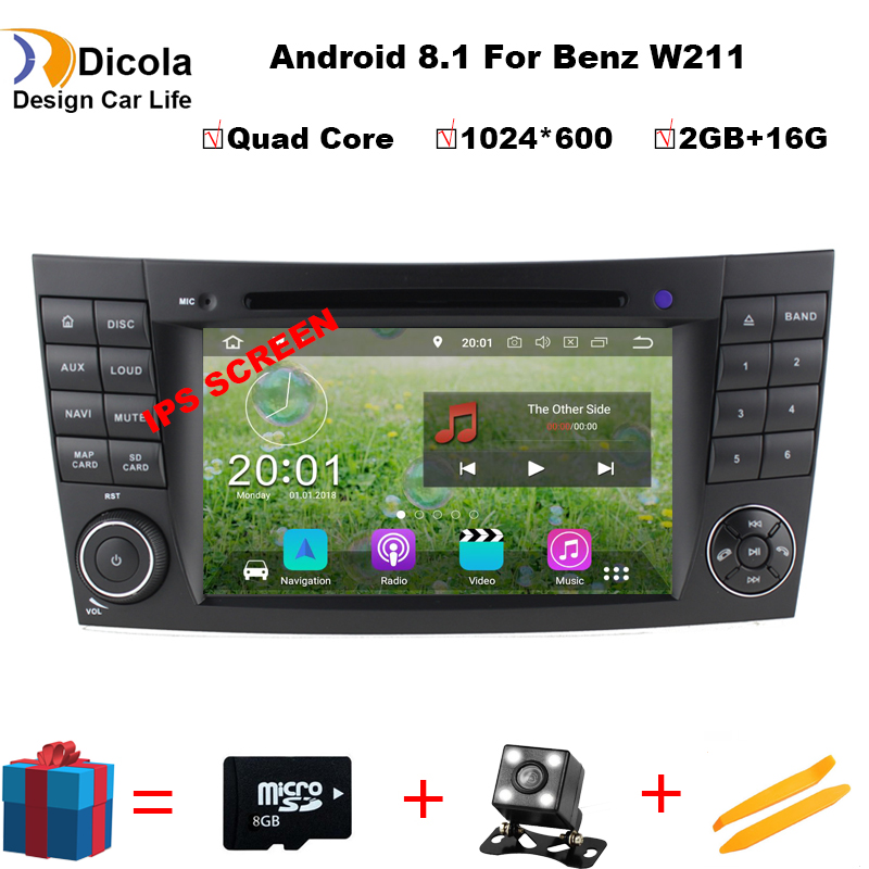 7 HD IPS! 1024*600 HD 2 din Car DVD Player multmedia for mercedes/benz w211 Android 8.1 W219 E Class CLS GPS Radio Stereo