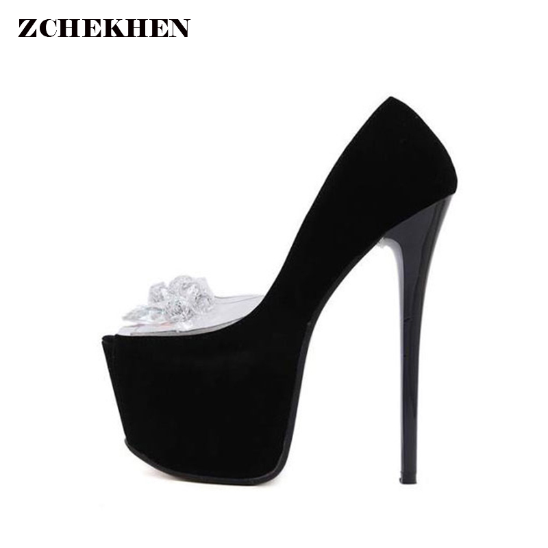 Fish Mouth Transparent Plastic Shoes Flock Sandals Diamond Beaded High-heeled Shoes Sexy Shoes the new type of diamond mother sandals lady leather fish mouth flowers with leather high heeled shoes slippers women shoes