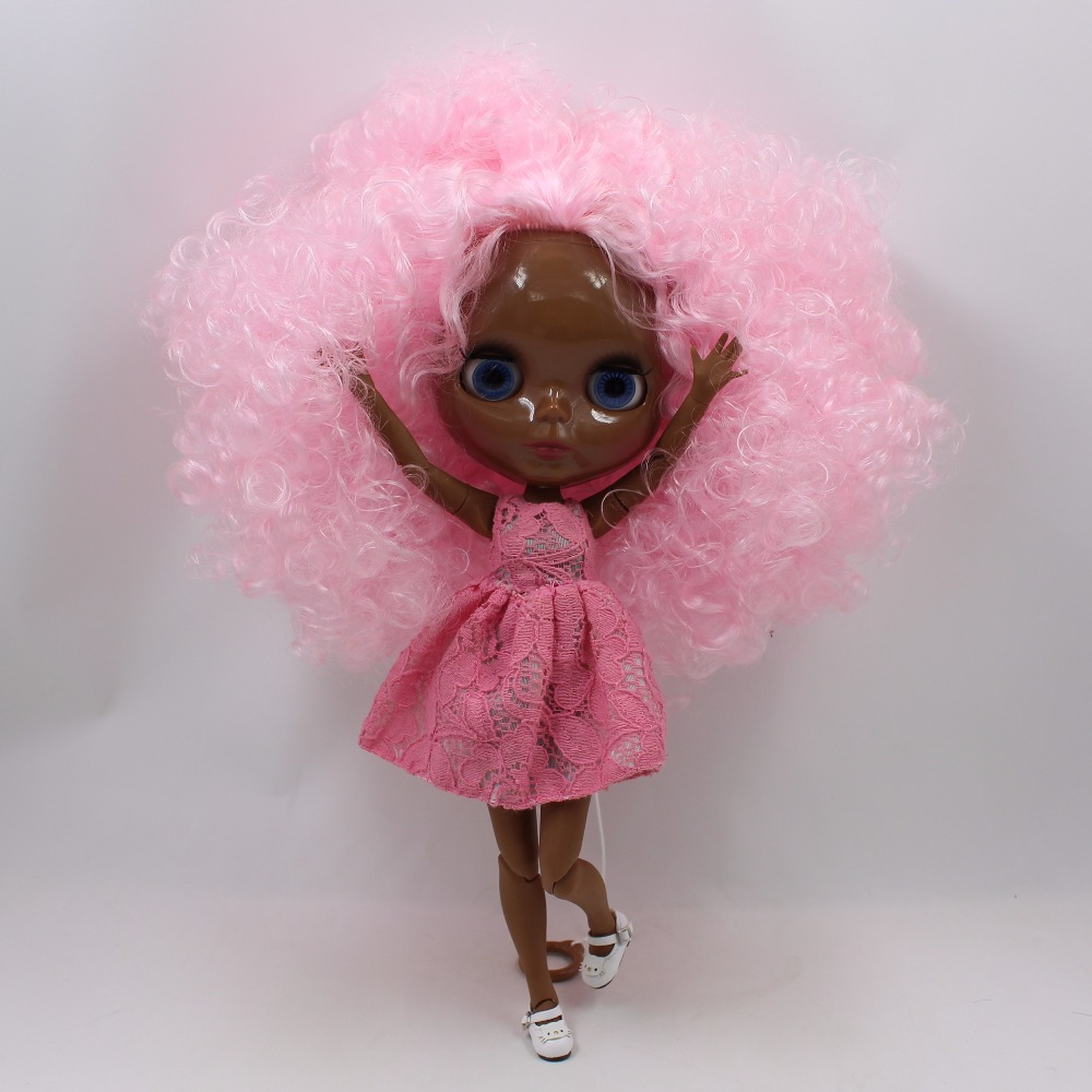 30cm super black Blyth doll nude pink curly afro hair with Joint body bjd 1/6 blyth dolls for sale30cm super black Blyth doll nude pink curly afro hair with Joint body bjd 1/6 blyth dolls for sale