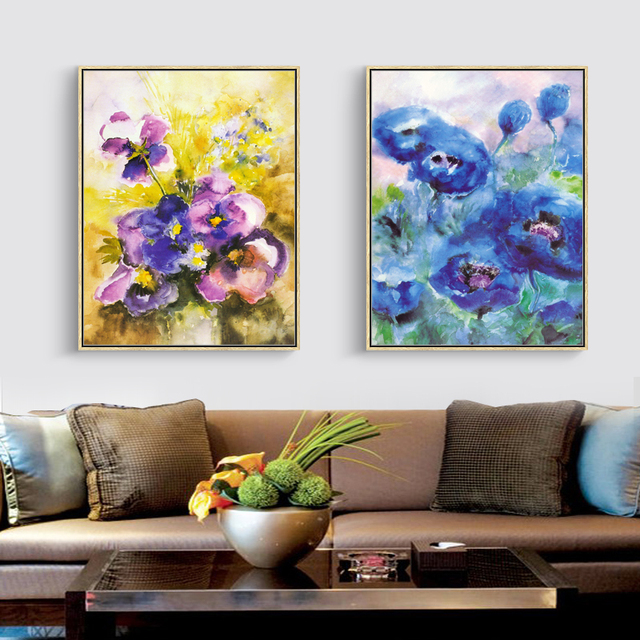 FULL HOUSE Aquarell Blumen Kunstdruck Poster Wohnzimmer Decor Modern Style  Wand Bilder Leinwand Malerei Home Decor