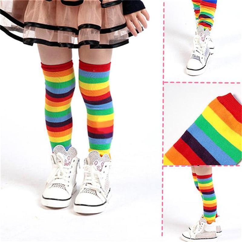 Baby Children's Rainbow Leg Warmers Socks Striped Autumn Winter Knee Leg Covers rainbow striped dress