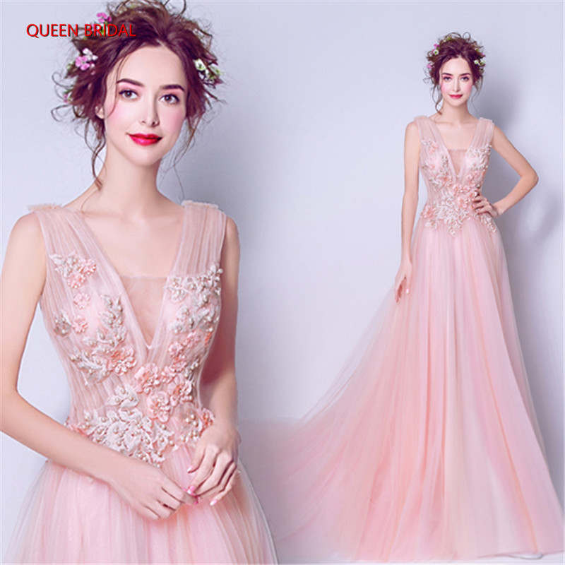 2018 New Design Pink Women Dress Robe De Soiree A line Romantic Evening Gown vestido de