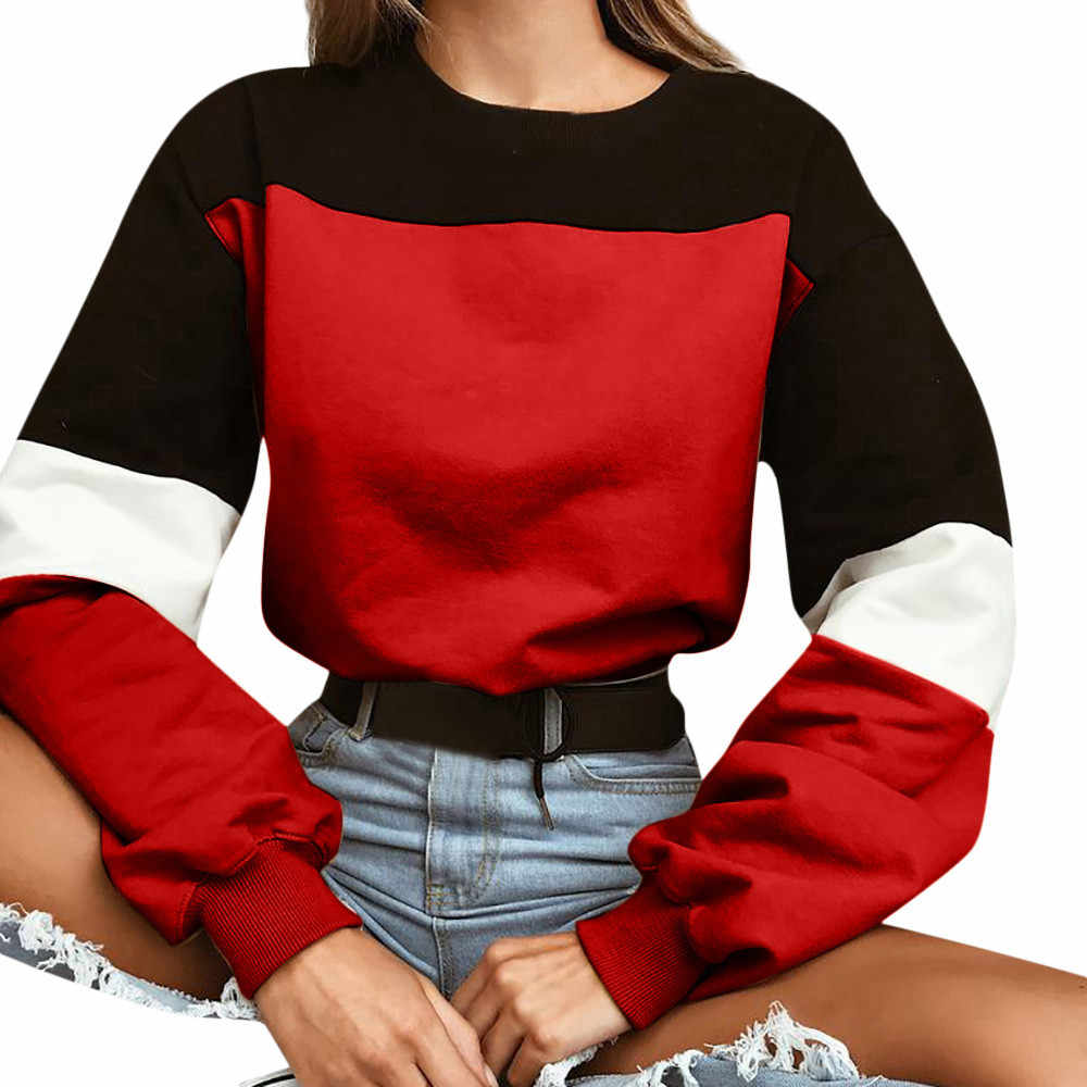 Fashion Womens Long Sleeve Splcing Color Sweatshirt Pullover High Street Style Solid Side Buttons Office Lady #A