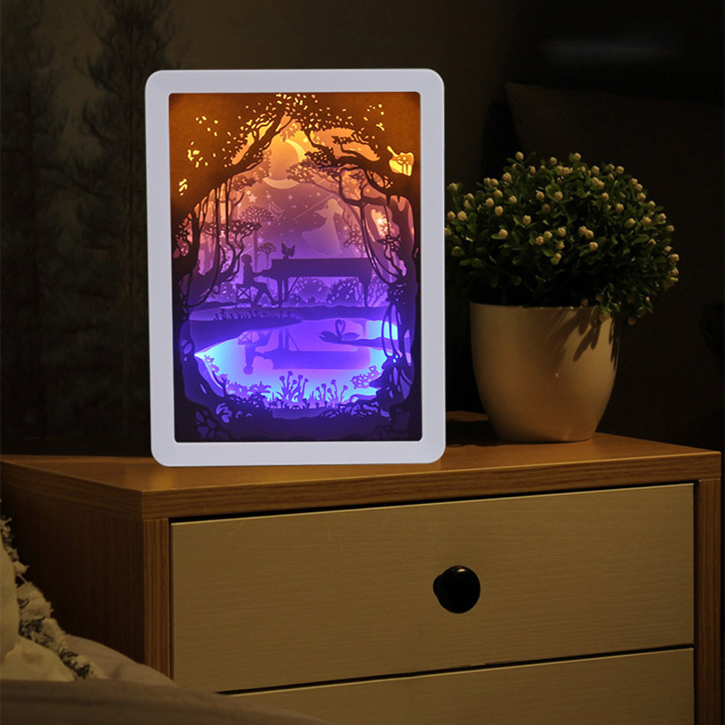 Light Shadow Paper Carved Lights Diy Creative Remote Control Small Night Frame ABS USB Charging Paper Carving Lamp 2019
