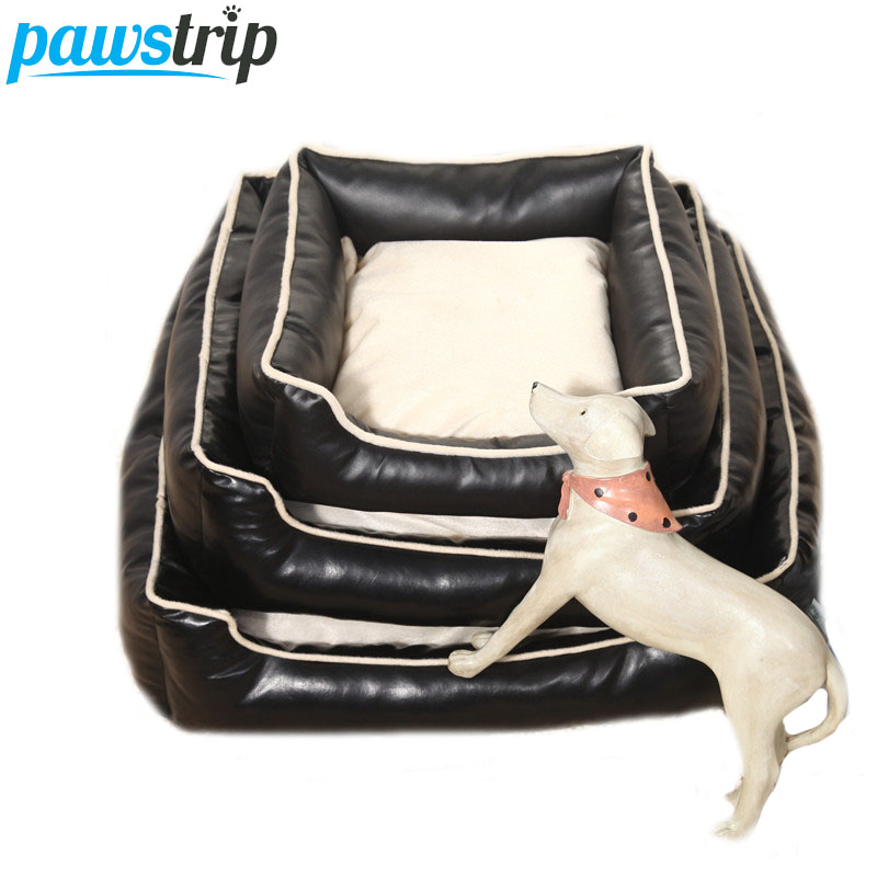luxury pu leather dog bed washable soft fleece puppy cushion square chihuahua small dog beds
