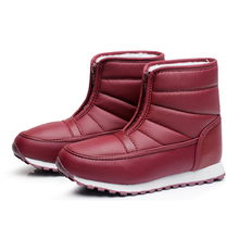 2016 Fashion Winter Waterproof Snow Boots For Women  Winter Boot Warm Cotton Fabric Inside Mid-calf Unisex Boot Shoes
