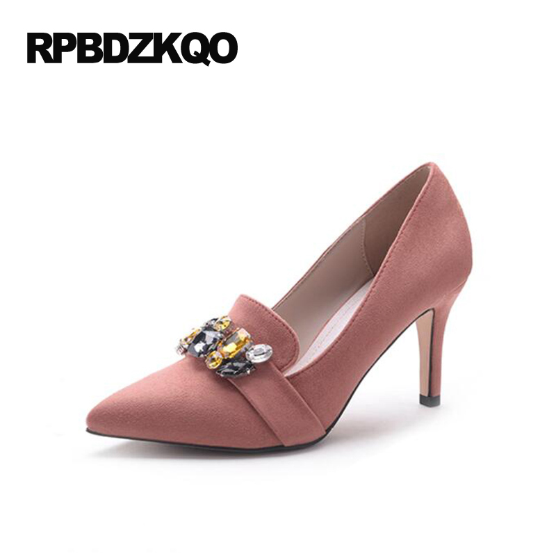 Фотография Pink Discount Pointed Toe Crystal Wedding Shoes 2017 8cm 3 Inch 12 44 Thin Bride Diamond Pumps Big Size High Heels Women Pull On