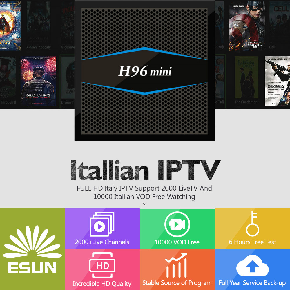 2018 New Arrival ESUNTV 1 Year Italy IPTV Android TV Box 2/16G 4000 Livetv+20000 italy EPG VOD Switzerland Albania Set Top Box italy iptv a95x pro voice control with 1 year box 2g 16g italy iptv epg 4000 live vod configured europe albania ex yu xxx