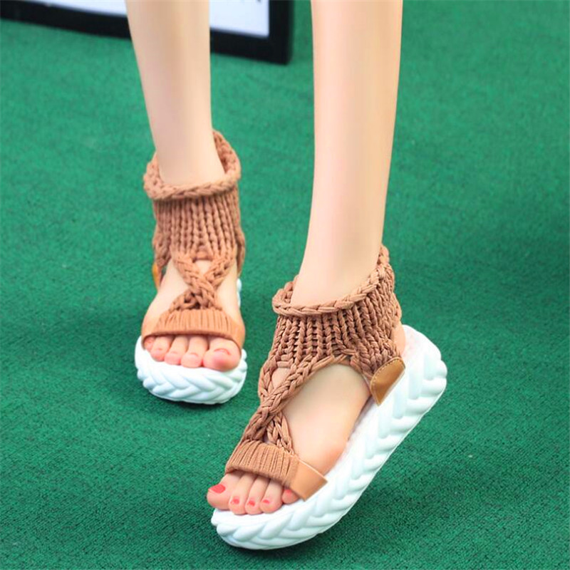 2019 new summer student knitting yarn fashion casual ladies sandals in Low Heels from Shoes