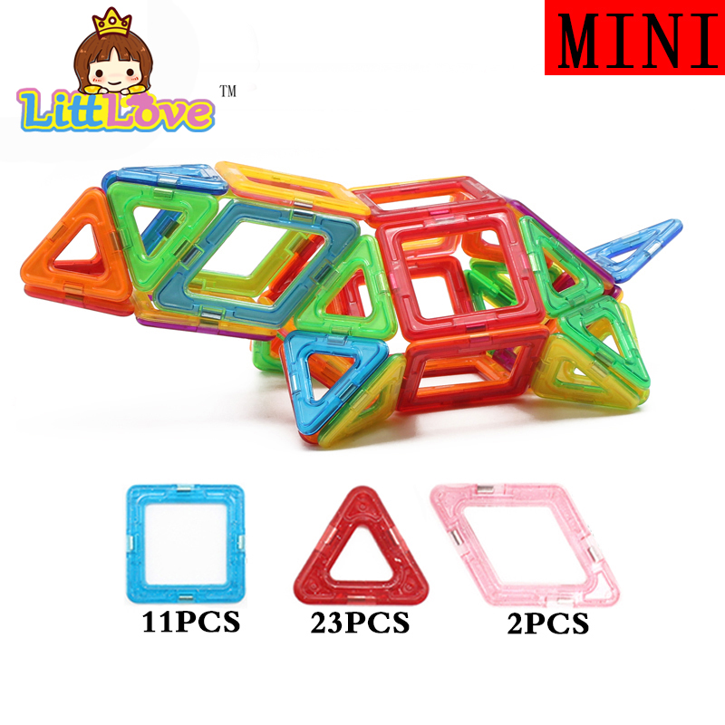 LittLove 36 PCs Mini Size Turtle Enlighten Bricks Educational Magnetic Designer DIY Building Blocks Toys For