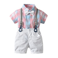 Kids Baby Boy Clothing Gentleman Suits Wedding Party Formal Tuxedo Plaid Bow Tie Romper Strappy Bids Shorts 2Pcs Boy Sets 6M 4Y