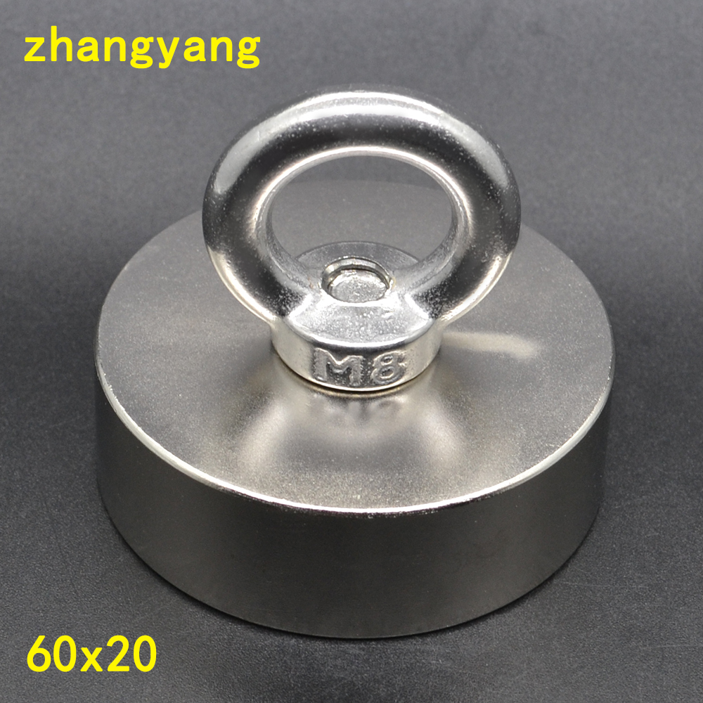 1PCS 60X20 Super Strong Salvage Magnet Rare Earth Disc Magnet with ring magnet 60X20mm Neodymium Magnets 60*20 mm цена