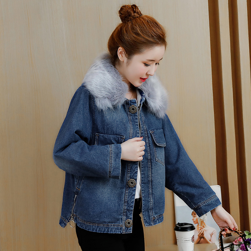 2017 new winter Female students padded short  large fur collar bf style coat loose cotton wool thick lamb parkas 2013 winter fashion female short doll style real rex rabbit fur collar thick cotton padded jacket loose cape cloak coat d2031