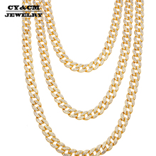 15mm Iced Out Bling CZ Rhinestone Crystal Gold Silver Miami Cuban Link Chain for Men Hip hop Necklace Jewelry Necklaces 18