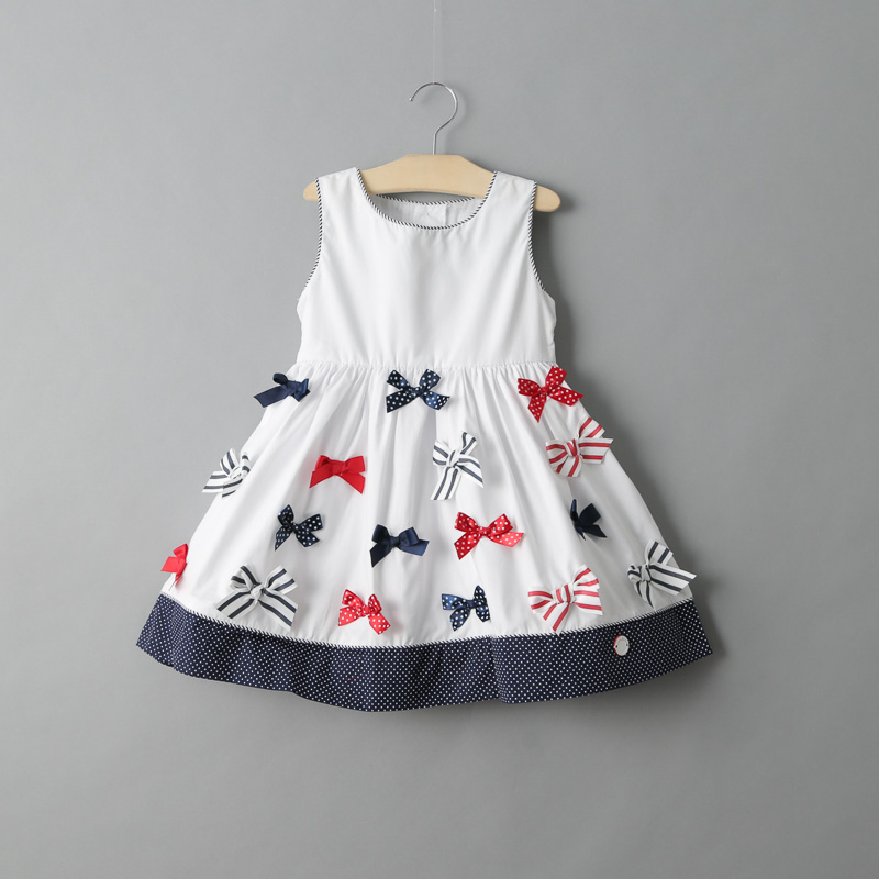 Girls Summer Dress 2017 Fashion Bow Kids Clothes Party Dresses Princess Toddler Costume Sleeveless Cotton White Baby Girl Dress toddler girls dresses summer 2016 baby kids clothes princess children dress for girl clothes sleeveless flower party dress 2 10y