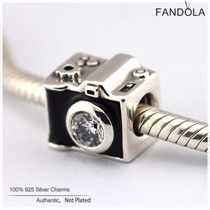 Fits Pandora Charm Bracelets 100% 925 Sterling Silver Sentimental Snapshots Clear CZ Charms Beads for Jewelry Making Berloque