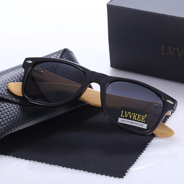 LVVKEE Top quality Brand Design Classic Rivet wood Mens/Womens sunglasses handmade bamboo Outdoors traveling sun glasses UV400 2