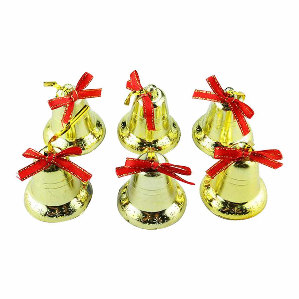 Christmas Bells.6pcs Christmas Bells Xmas Tree Decoration Golden Bells Christmas Tree Ornaments Festive Jingle Bells Decoration 2o81030