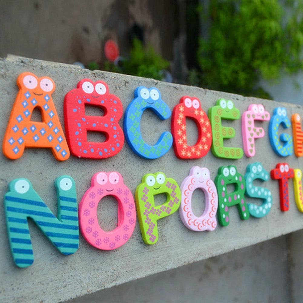Pcs Funny Fridge Magnets Kids Educational Toys Wood Letters