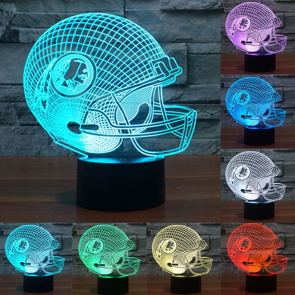 NFL Washington Redskins American Football Team Helmet 3D Night Light 7 Colors Change LED USB Table Lamp Creative Light IY803673