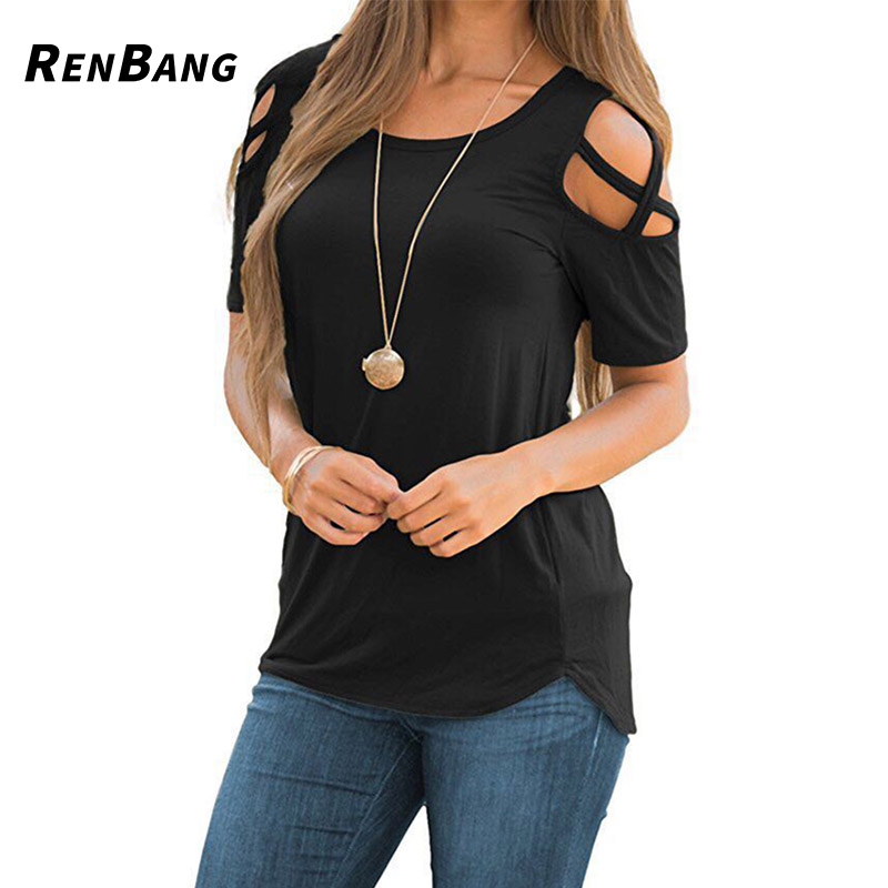 RENBANG Women Summer Short Sleeve Strappy Cold Shoulder T-Shirt Tops t shirt Women Short O-neck Top Tees Feminina Camiseta stylish short sleeve round neck high low hem tower and letter print t shirt for women