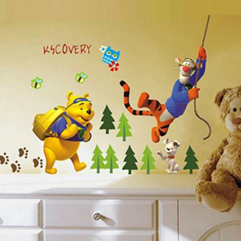 ZY711 Disny Cartoon Winnie The Pooh and Tiger Party PVC Wall Sticker ...